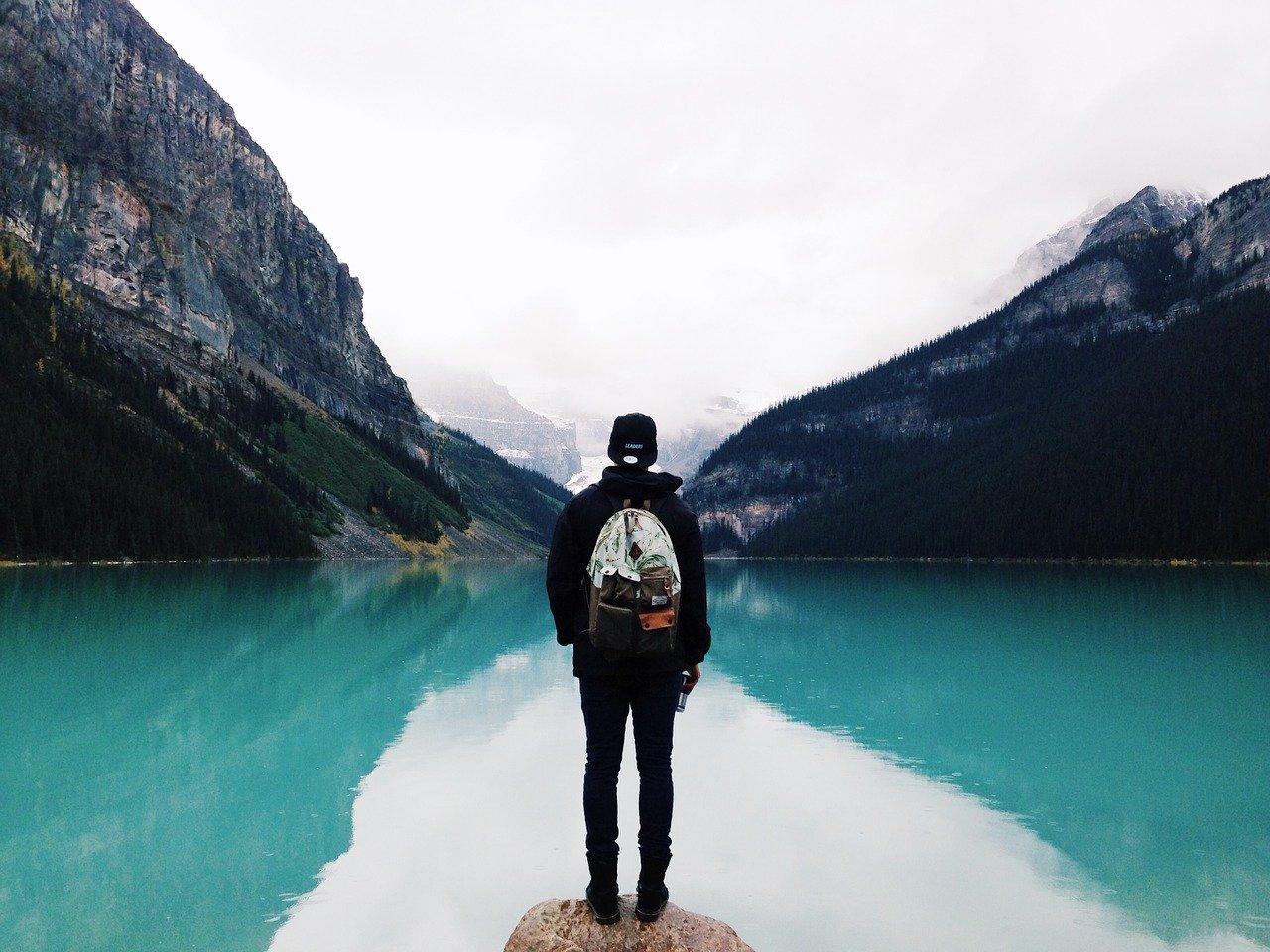 person, mountain lake, reflection